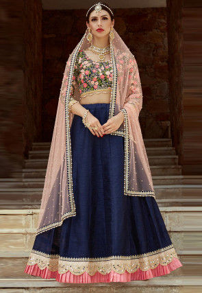 Embroidered Art Silk Lehenga In Navy Blue