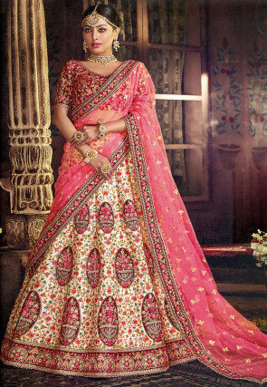 Embroidered Art Silk Lehenga in Off White and Multicolor