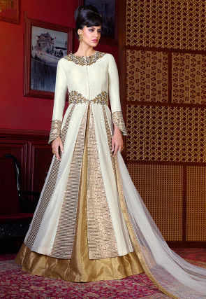 Embroidered Art Silk Lehenga in Off White