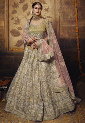 Embroidered Art Silk Lehenga in Old Gold
