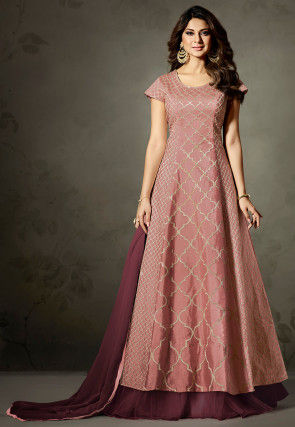 Embroidered Art Silk Lehenga in Light Peach