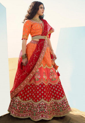 Embroidered Art Silk Lehenga in Orange and Red