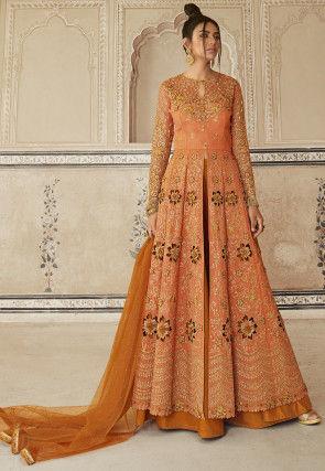 Embroidered Art Silk Lehenga in Orange
