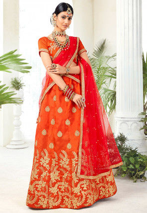 Embroidered Art Silk Lehenga in Orange