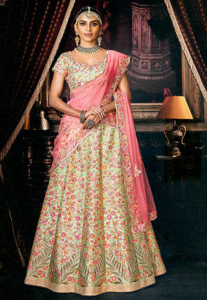 Embroidered Art Silk Lehenga in Pastel Green