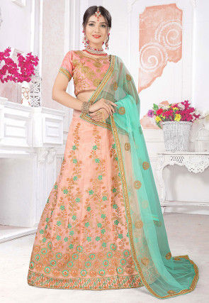 Embroidered Organza Lehenga in Peach