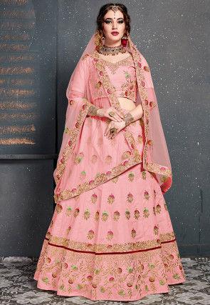 Embroidered Art Silk Lehenga in Pink