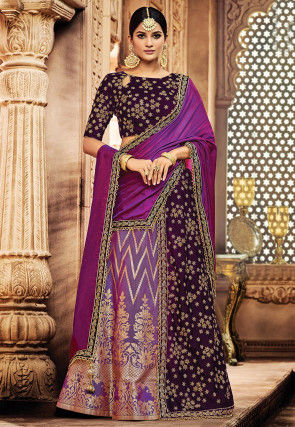 Embroidered Art Silk Lehenga in Purple and Violet