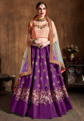 Embroidered Art Silk Lehenga in Purple