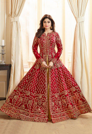 882931b5b5 Embroidered Art Silk Lehenga in Maroon