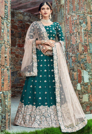 Embroidered Art Silk Lehenga in Teal Blue