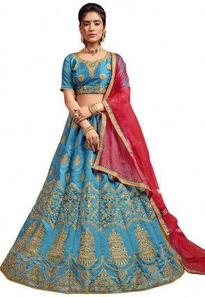 Embroidered Art Silk Lehenga in Teal Blue