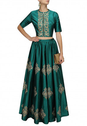 Embroidered Art Silk Lehenga in Teal Green