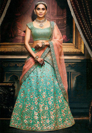 Embroidered Art Silk Lehenga in Turquoise