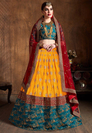Embroidered Art Silk Lehenga in Yellow and Teal Blue