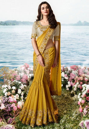 Embroidered Art Silk Lehenga Style Saree in Mustard