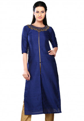 Embroidered Art Silk Long Kurta in Blue