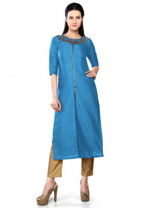 Embroidered Art Silk Long Kurta Set in Blue