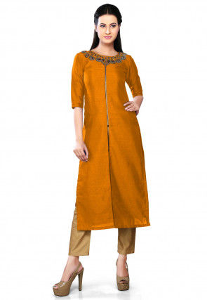 Embroidered Art Silk Long Kurta Set in Mustard