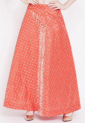 Embroidered Art Silk Long Skirt in Dark Peach