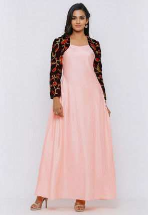 Embroidered Art Silk Maxi Dress in Peach