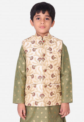 Embroidered Art Silk Nehru Jacket in Beige