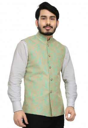 Embroidered Art Silk Nehru Jacket in Light Green