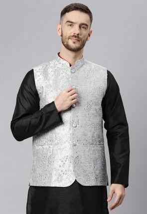 Embroidered Art Silk Nehru Jacket in Light Grey