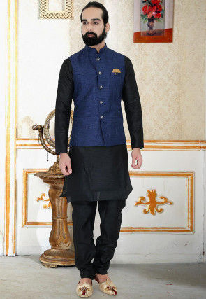 Embroidered Art Silk Nehru Jacket in Navy Blue