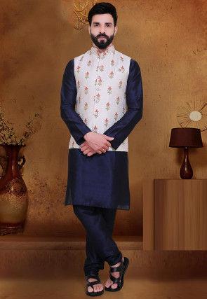 Embroidered Art Silk Nehru Jacket in Off White