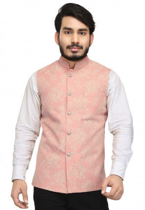 Embroidered Art Silk Nehru Jacket in Peach