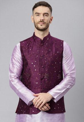 Embroidered Art Silk Nehru Jacket in Violet