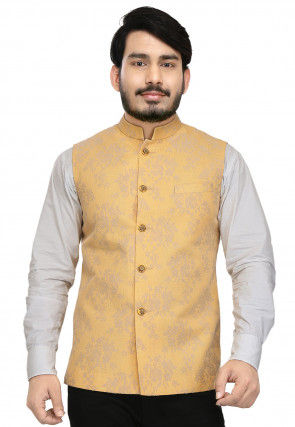 Embroidered Art Silk Nehru Jacket in Yellow