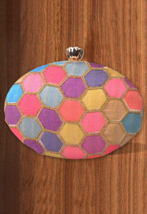 Embroidered Art Silk Oval Box Clutch Bag in Multicolor