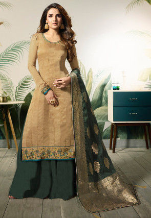 Embroidered Art Silk Pakistani Suit in Beige