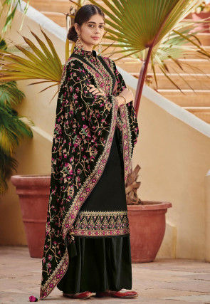 Embroidered Faux Georgette Pakistani Suit in Black
