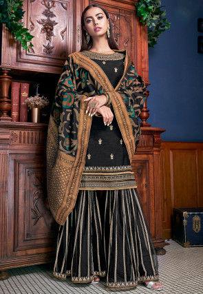 Embroidered Art Silk Pakistani Suit in Black