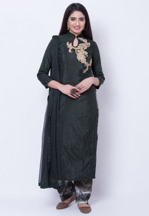 Embroidered Art Silk Pakistani Suit in Black