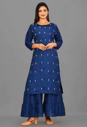 Embroidered Art Silk Pakistani Suit in Blue