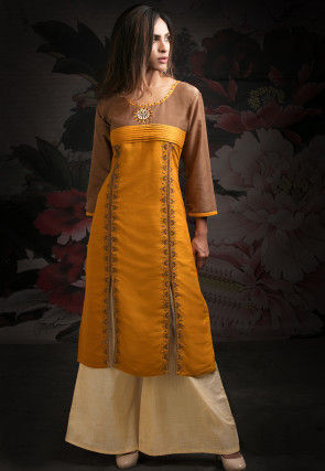 Embroidered Art Silk Pakistani Suit in Brown and Orange