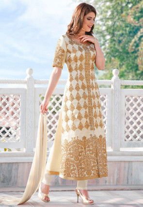 410798da8e6 Embroidered Poly Cotton Pakistani Suit in Cream