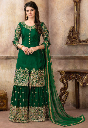 Embroidered Art Silk Pakistani Suit in Dark Green