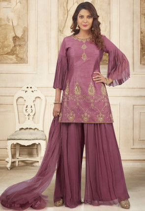 Embroidered Art Silk Pakistani Suit in Dusty Pink