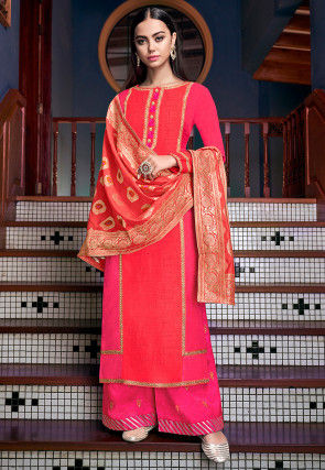 Embroidered Art Silk Pakistani Suit in Fuchsia and Peach