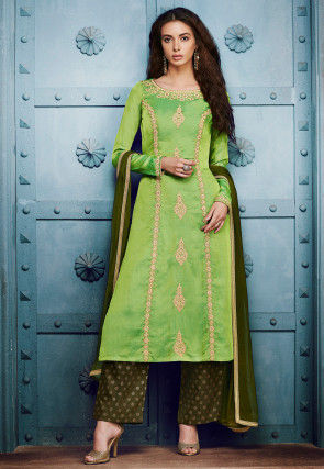 Embroidered Art Silk Pakistani Suit in Green