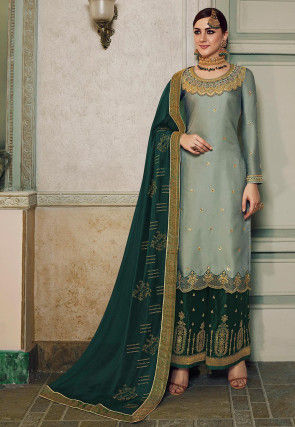 Embroidered Art Silk Pakistani Suit in Grey