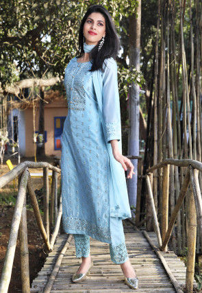 Embroidered Art Silk Pakistani Suit in Light Blue