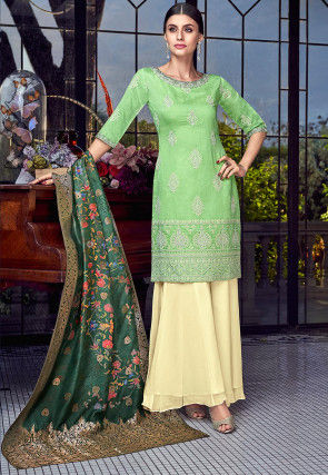 Embroidered Art Silk Pakistani Suit in Light Green