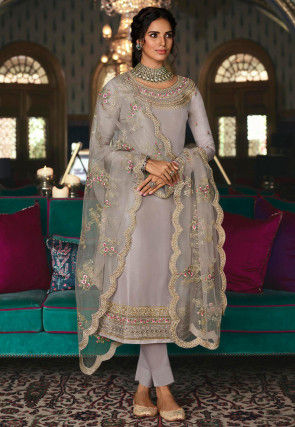 Embroidered Art Silk Pakistani Suit in Light Grey