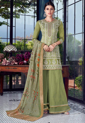 Embroidered Art Silk Pakistani Suit in Light Olive Green